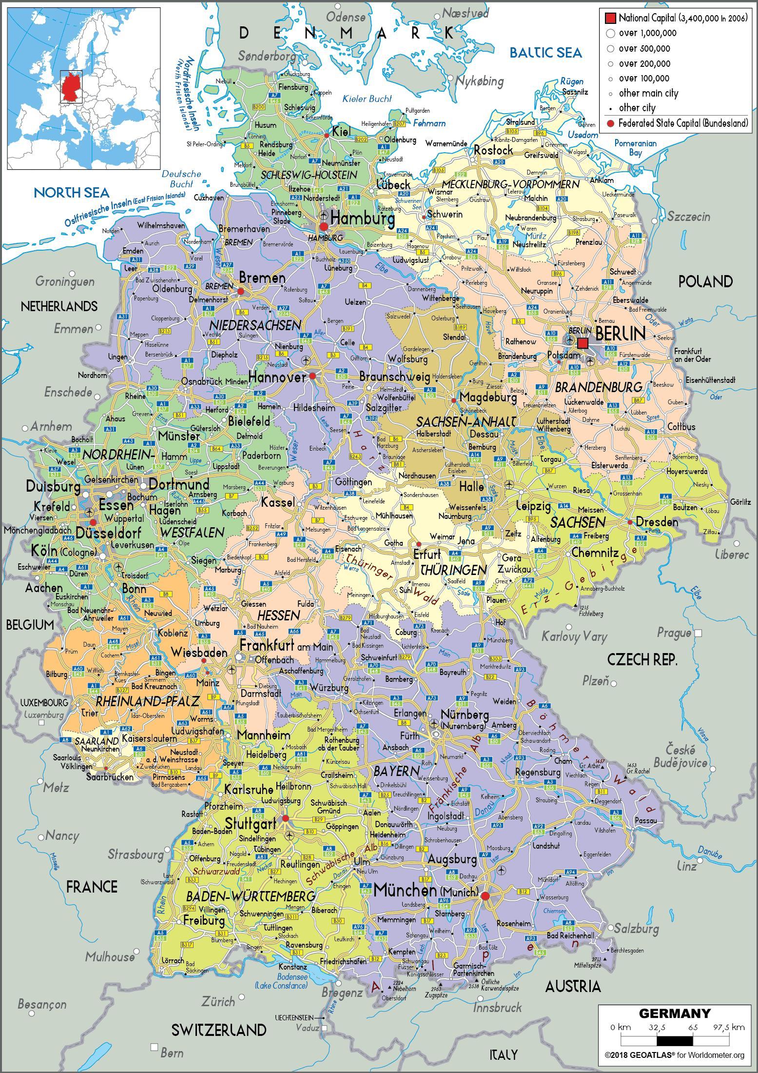 Kaart Van Duitsland Met Steden En Staten Kaart Van Duitsland En